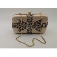 Cheap Crystal Bow Satin Box Clutch Bag , Hardcase Metal Patent Clutch Bag wholesale