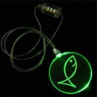 Cheap Circle Plastic Flashing Necklaces, Measures 42mm, with Round Pendent and Jade LED wholesale