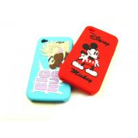 Cheap White / Black / RED Cell Phone Silicone Cases With Mickey Pattern, Screen Print Logo wholesale