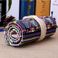 Cheap Roll - Up Canvas Student Pencil Pouches, Pencil Roll CaseCotton Rope Closure wholesale