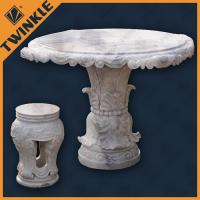 Cheap Garden Natural White Marble Outdoor Furniture Include Table And Bench wholesale