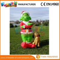 Cheap Mini Oxford cloth Green Airblown Inflatable Grinch Inflatable Christmas Grinch With Dog wholesale