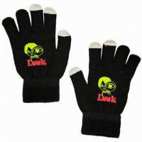 Cheap Touch screen gloves, made of acrylic with special conductive material in 3 finger tips, sold by pair wholesale