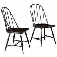 Cheap Optional Colour Wooden Dining Room Chairs Mixed Media Spindle Back With Saddle Seat wholesale