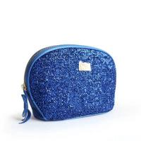 Cheap Custom Blue Travel Zipper Cosmetic Bags With Metal Company Logo wholesale