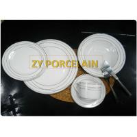 Cheap Superwhite Ceramic  20 Piece  Round Dinnerware Sets For 4 People Gold Line wholesale