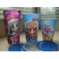 Cheap PLASTIC LENTICULAR Food Grade Customized 3D lenticular Straw Cups plastic flip changing cup with Lid wholesale