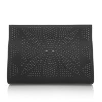 Cheap Laser Cut Lady Party Clutch , Black Nappa Leather Clutch Handbags , Magnetic Closure wholesale