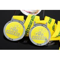 Buy cheap Two Rivers Marathon Custom Sports Medals Raised Metal And Filling Color In from wholesalers