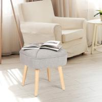 Cheap Square Footrest Modern Ottoman Stool Fabric Seat Soft Paded Dressing Shoe Bench wholesale