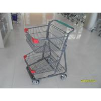 Cheap Two Deck Basket  Shopping Trolley Cart With Grey Powder Coating Surface Treatment wholesale