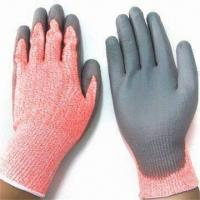 Cheap Cut Resistant PU Coated Safety Gloves, Made of HPPE Knitted Lining wholesale