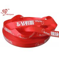 Cheap 2.5cm red custom logo printed satin ribbon for packing decoration for sale