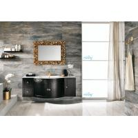 High Level All Wood Vanity , Black Wood Bathroom Vanity With White Marble Countertops