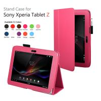 Cheap Pink Flip Protective Xperia Tablet Z Leather Case With Folio Stand 10.1'' wholesale