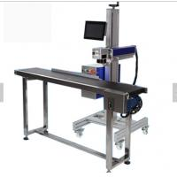 Cheap High speed and prescion auto focus galvo scanner flying CO2 laser marking/cutting machine with conveyor wholesale