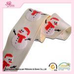 "Cheap 1"" White Grosgrain Ribbon / White Snowman Polyester Grosgrain Ribbon For Holiday wholesale"