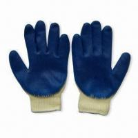 Cheap Blue Latex Coated Safety Gloves, Suitable for General Working Environment, Anti-skid wholesale