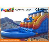 Cheap Blue Color Giant Outdoor Inflatable Water Slides Fire Resistance wholesale