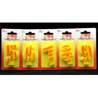 Cheap Number Birthday Candles 0-9 Yellow Candle  with Orange color Stripe Painting wholesale