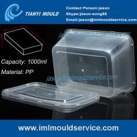 Cheap PP 1000ml thin wall disposable rectangular plastic food box/ transparent packaging mould wholesale