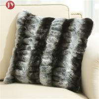 Cheap dark gray stripe Chinchilla faux Fur Decorative Pillow cover , cushion cover for sofa Bedroom 18inch*18inch wholesale