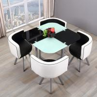 China Bazhou modern furniture price save sapce small house room 12mm thick tempered glass metal round dining table 4 seater on sale