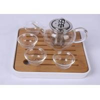 Cheap Portable Travel Glass Tea Set 4 Cups With Bamboo Plate , FDA SGS Listed wholesale