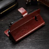 Soft Protective Crazy Horse Leather Wallet Case For Samsung S8 Side - Open