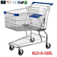 Cheap 155L Hyper Market / Grocery Shopping Trolley With Transparent Powder Coating wholesale