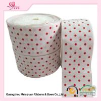 Cheap 2 Inch White Custom Printed Grosgrain Ribbon With Red Polka Dots For DIY Handwork wholesale