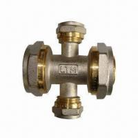 Cheap Brass Fittings, Reducing Cross, Nickel-plated, for PEX-AL-PEX Water Pipe wholesale