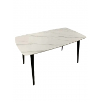 Cheap White Marble Dining Table With Angled And Black Powder Coated Steel Legs wholesale