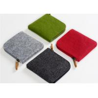 Cheap 11*10*1cm Environmentally Friendly Felt Fabric Bags With Leather Zipper wholesale