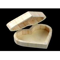 Cheap Cover Top Heart Shaped Wooden Box , Wooden Crate Gift Box For Rings Wedding Gift wholesale