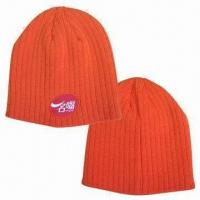 Cheap Knitted Beanie with Logo by Woven Label, Made of Acrylic Material wholesale