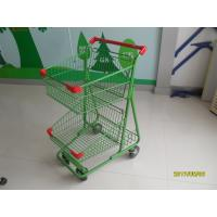 Cheap Two Basket Grocery Shopping Trolley Wire Shopping Cart 656x521x1012mm wholesale