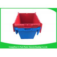 Solid Moving Plastic Attached Lid Containers , 50kgs Security Plastic Bins With Lids