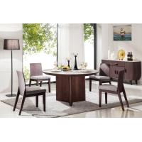 China high quality 6 seater round wood dining table with marble top on sale