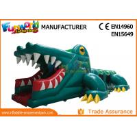 Cheap Green Shark Inflatable Obstacle Course Tunnel / Assault Course Bounce House wholesale
