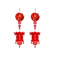 Cheap 4 Pieces Felt Holiday Decorations Red Chinese Spring Festival 3D Lanterns wholesale