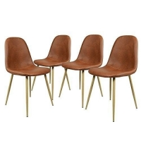 Cheap Modern Style Black Metal Base Brown Faux Leather Fabric Dining Room Chairs wholesale