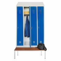 Cheap Waterproof Swimming Pool Metal Wardrobe With Bench Four Door Easy To Assemble wholesale