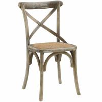 Cheap Gear Rustic Farmhouse Modern Wooden Dining Chairs , Elm Wood Rattan Dining Chair In Gray wholesale