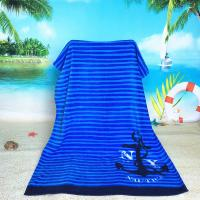 Blue Striped Oversized Beach Towels With 100% Terry / Velour Cotton