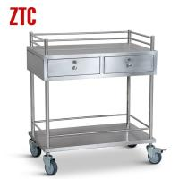 Cheap Medical stainless steel instrument cart with drawers,drug moving hand trolley on wheels wholesale