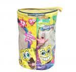 Cheap Round Spongebob Theme Toy Bricks Blocks Zipper Storage Bags for Children Building Blocks with handle wholesale