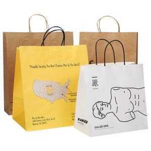 Cheap Wholesales Custom Logo Printed Cheap Recycled Take Away Food Packaging Shopping Brown Paper Bag With Twisted/Flat Handle wholesale
