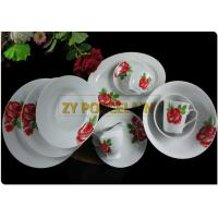 Cheap 20 Piece Roses Cover Dining Plate Sets , Round Dinner Sets  With Cups And Tea Pot Custom Logo wholesale