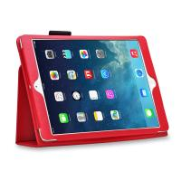 Cheap Lady Luxury Lichi Leather iPad Cases with Stand Smart Folio , Red Color wholesale